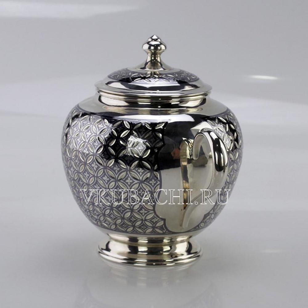 Набор: Сахарница и чайник серебряные  «Эйфория»