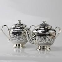 Набор: Сахарница и чайник серебряные  ««Цветочек»»